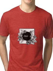 gray flowers and leaves in square frame Tri-blend T-Shirt