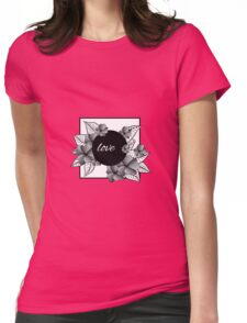 gray flowers and leaves in square frame Womens Fitted T-Shirt
