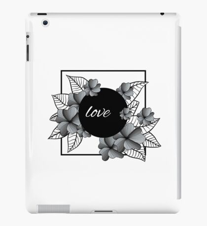 gray flowers and leaves in square frame iPad Case/Skin