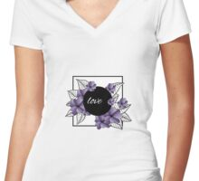 purple flowers and leaves in square frame Women's Fitted V-Neck T-Shirt