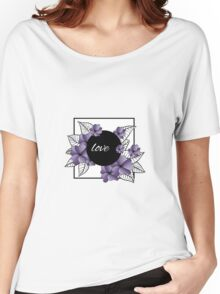 purple flowers and leaves in square frame Women's Relaxed Fit T-Shirt