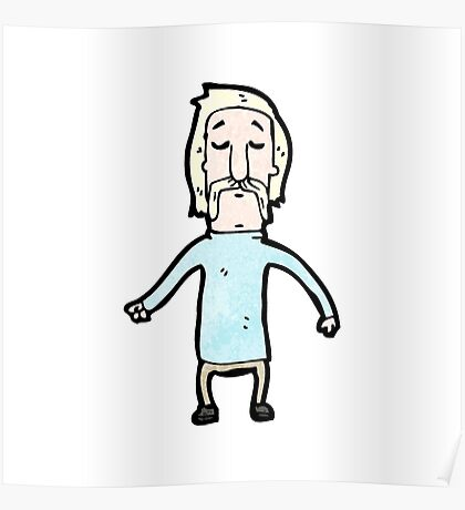 cartoon blond man with handlebar mustache Poster