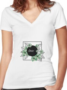 green flowers and leaves in square frame Women's Fitted V-Neck T-Shirt