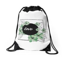 green flowers and leaves in square frame Drawstring Bag