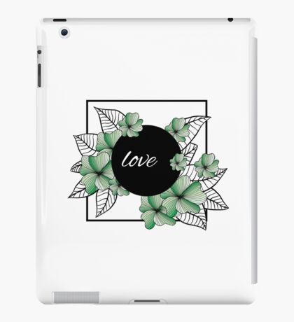 green flowers and leaves in square frame iPad Case/Skin