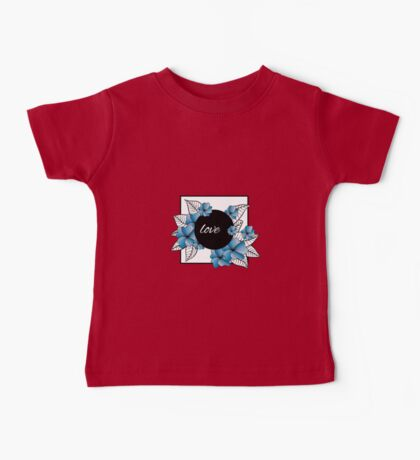 blue flowers and leaves in square frame Baby Tee