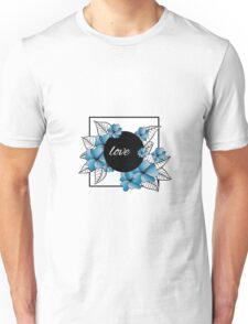 blue flowers and leaves in square frame Unisex T-Shirt