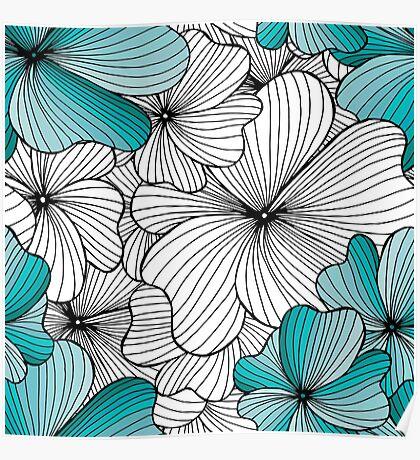blue flowers pattern Poster