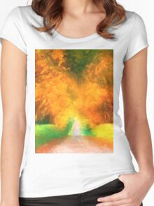 Impressionist Autumn landscape France Fall  Women's Fitted Scoop T-Shirt