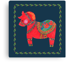 The Red Dala Horse Canvas Print