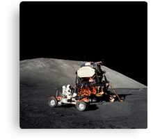 Apollo 17 astronaut makes a short checkout of the Lunar Roving Vehicle. Canvas Print