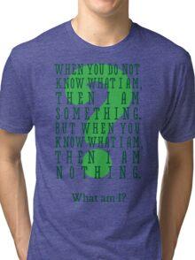 Riddle me this... (tall) Tri-blend T-Shirt