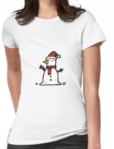cartoon snowman Womens Fitted T-Shirt