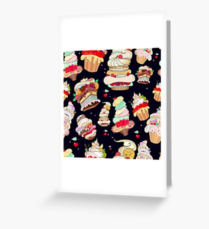 Pattern with the fantastic cakes Greeting Card