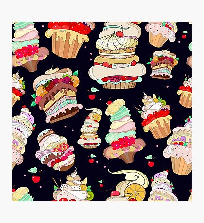 Pattern with the fantastic cakes Photographic Print