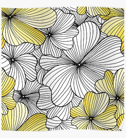 yellow flowers pattern Poster