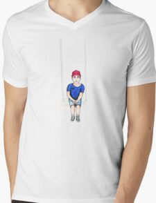 Swing Kid \ Cartoon Illustration Mens V-Neck T-Shirt