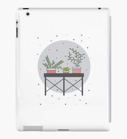 Table with cute plants iPad Case/Skin