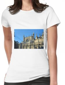 The Cathedral of Saint Mary of the See, Seville Cathedral, in Seville, Andalusia, Spain. Gothic style architecture in Spain. Womens Fitted T-Shirt