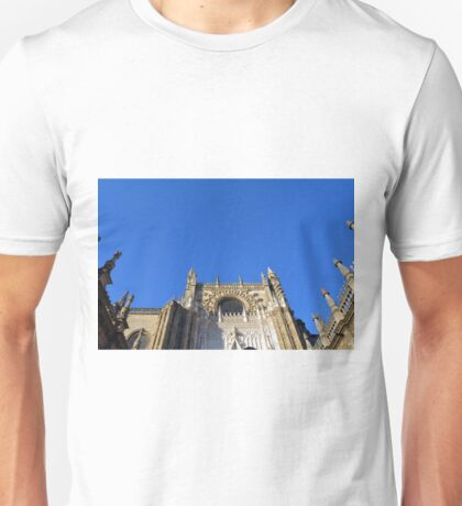 The Cathedral of Saint Mary of the See, Seville Cathedral, in Seville, Andalusia, Spain. Gothic style architecture in Spain. Unisex T-Shirt