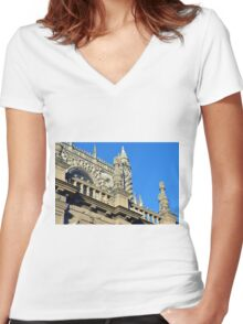 The Cathedral of Saint Mary of the See, Seville Cathedral, in Seville, Andalusia, Spain. Gothic style architecture in Spain. Women's Fitted V-Neck T-Shirt