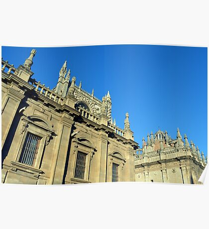 The Cathedral of Saint Mary of the See, Seville Cathedral, in Seville, Andalusia, Spain. Gothic style architecture in Spain. Poster