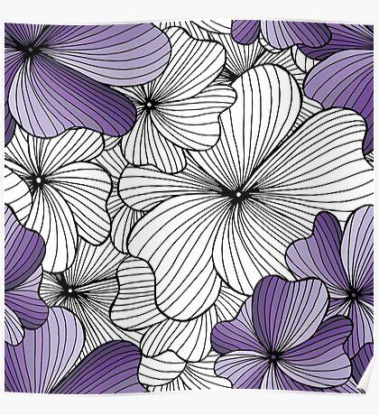purple flowers pattern Poster