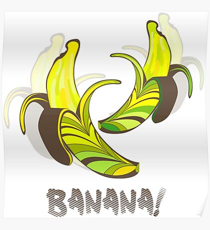 Banana in a retro style Poster