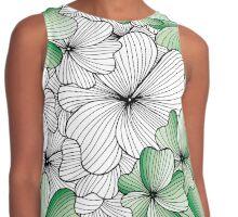 green flowers pattern Contrast Tank
