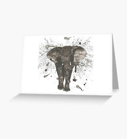 Ink and Brush Elephant Greeting Card