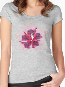 Halftone pink hibiscus Women's Fitted Scoop T-Shirt
