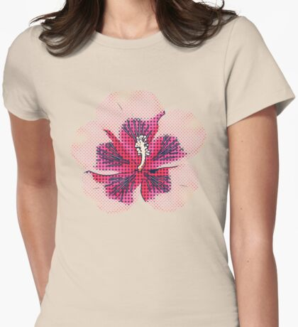 Halftone pink hibiscus Womens Fitted T-Shirt