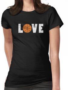 I Love Basketball Word Emoji Emoticon Graphic Tee Funny Illustrated Pun Words Womens Fitted T-Shirt