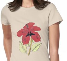 Halftone red hibiscus Womens Fitted T-Shirt