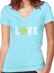 I Love Tennis Illustrated Word Art Graphic Tee Shirt Women's Fitted V-Neck T-Shirt