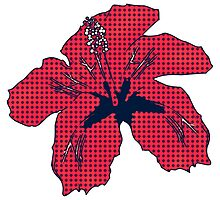 Halftone red hibiscus 2 by AnnArtshock