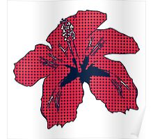 Halftone red hibiscus 2 Poster
