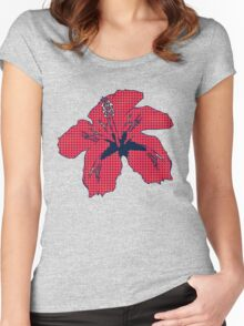 Halftone red hibiscus 2 Women's Fitted Scoop T-Shirt