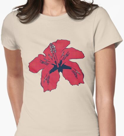 Halftone red hibiscus 2 Womens Fitted T-Shirt