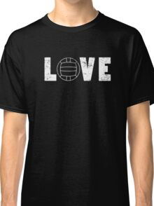 I Love Volleyball Illustrated Word Art Pun Funny Emoji Style Graphic Tee Shirt Classic T-Shirt
