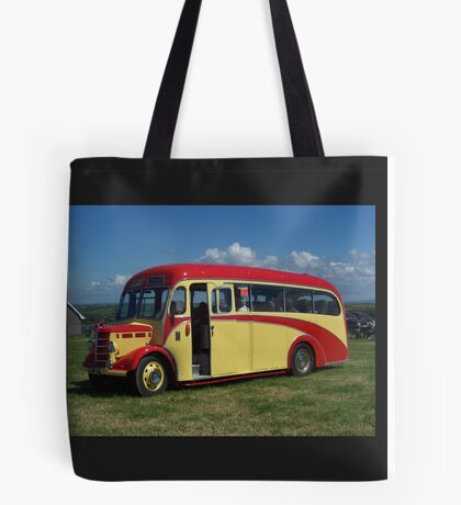 Red and Yellow Vintage Bus Tote Bag