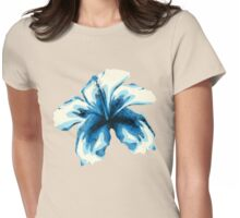 Halftone blue hibiscus Womens Fitted T-Shirt