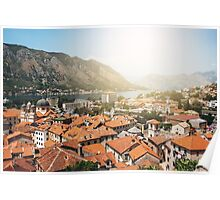 Aerial View from Mountain on Kotor Bay and Old Town, Montenegro Poster