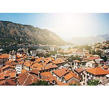 Aerial View from Mountain on Kotor Bay and Old Town, Montenegro Photographic Print