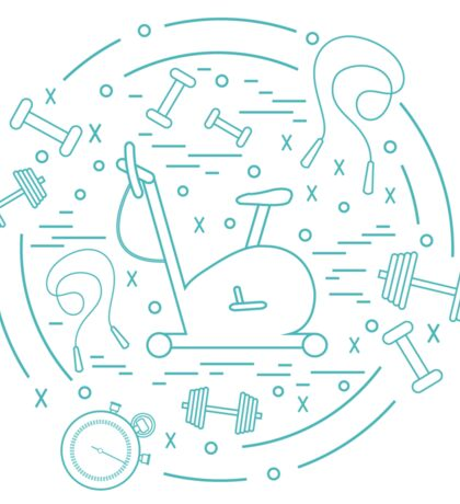 Vector illustration of different kinds of sports equipment arranged in a circle. Including icons of skipping rope, stopwatch, exercise bike, dumbbells.  Sticker
