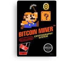 Bitcoin Geek Nintendo Gaming Funny Mario Mashup  Canvas Print