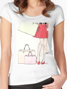 Halftone shopping woman legs Women's Fitted Scoop T-Shirt