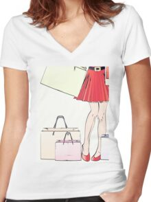 Halftone shopping woman legs Women's Fitted V-Neck T-Shirt