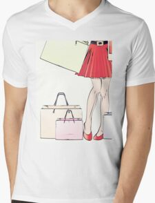 Halftone shopping woman legs Mens V-Neck T-Shirt