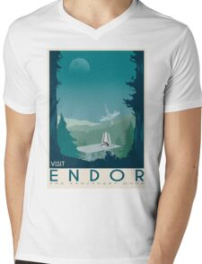 Endor poster. Starwars retro travel. Forest moon Endor. New hope. Death star. Empire strikes back. Speeder bike tours. Stoormtrooper Mens V-Neck T-Shirt